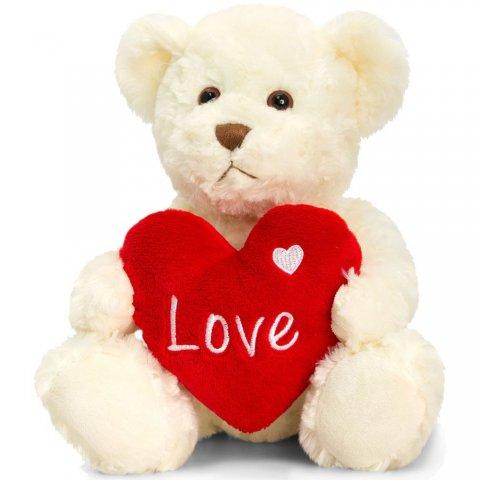 Keel Toys - Мече Бакстър, бяло, със сърце