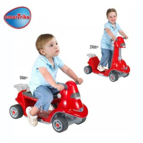 Smart Trike - Детска проходилка-скутер 2в1 Червен