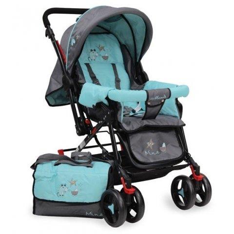 Moni - Комбинирана детска количка Mina Синя