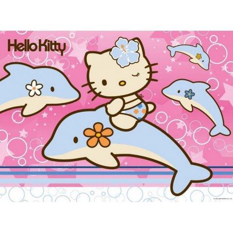 Ravensburger -Детски пъзел Супер Котето Хелоу Кити с делфини