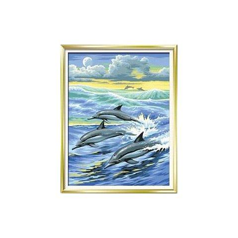 KSG Craft - Рисуване по номера с акрилни бои - Делфини