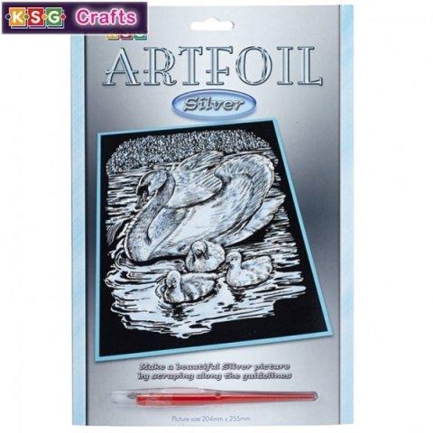 KSG Craft - Сребърна гравюра на Лебед и патета