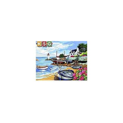 KSG Craft - Рисуване по номера с акрилни бои - Рибарско селище