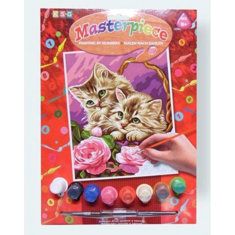KSG Craft - Рисуване по номера с акрилни бои - Котета с цветя