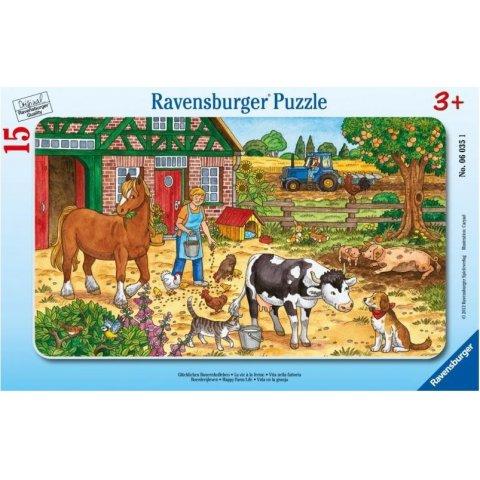 Ravensburger - Пъзел 15 елемента Домашни животни в двора на фермата