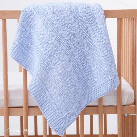 Mycey - Бебешко плетено одеяло - Синьо