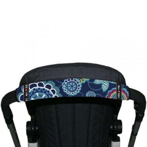 Tris & Ton - Протектор за хоризонтална дръжка на количка, цяла сини цветя