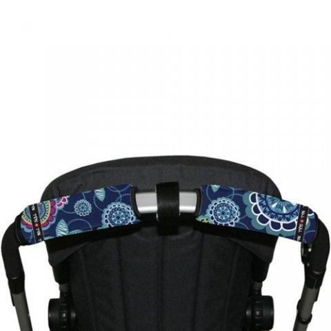Tris & Ton - Протектор за хоризонтална дръжка на количка с разделител, принт сини цветя