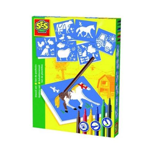 SES - Комплект шаблони и 6 цвята флумастери