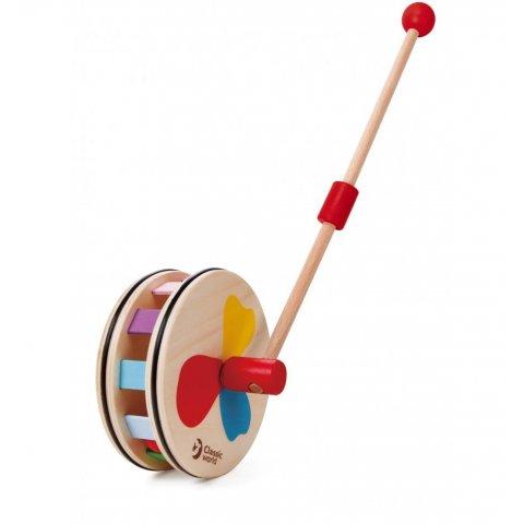 Classic World - Дървена играчка за бутане с цветовете на дъгата