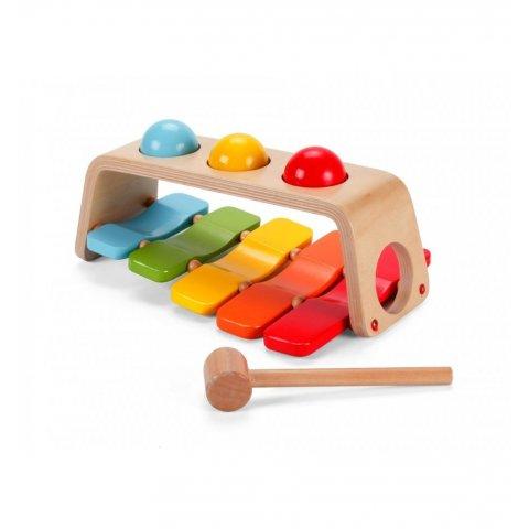 Classic World - Дървена играчка 2 в 1  ксилофон, чукче