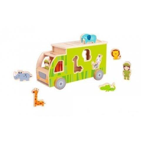 Classic World - Дървено камионче  сортер с животни зелено
