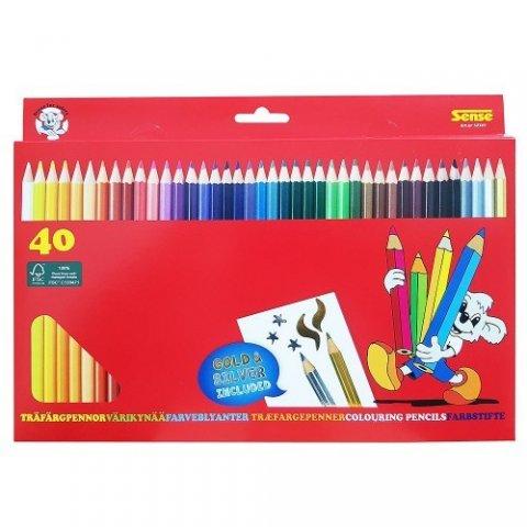 Sense - Цветни моливи, 40 бр, вкл. златен и сребърен