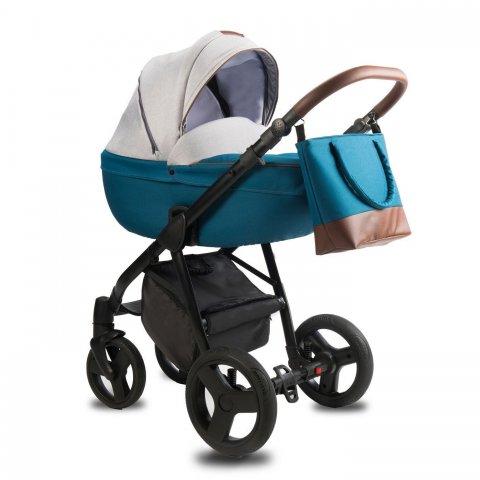 Qumes - Детска количка Bera 2 в 1 син-сив