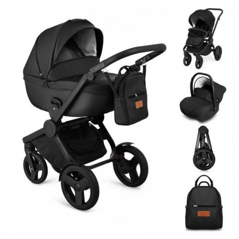 Qumes - Комбинирана Детска количка 2 в 1 - еко кожа,черна