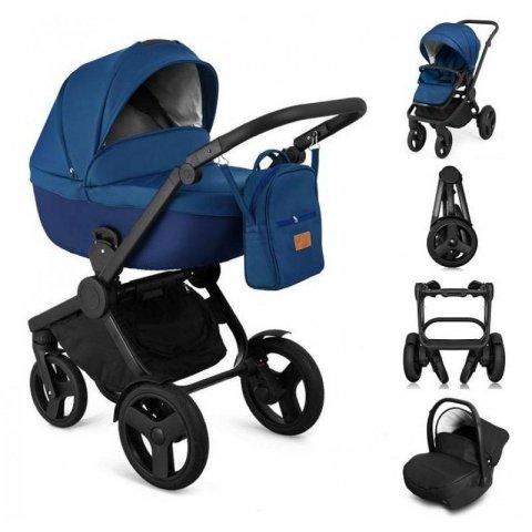 Qumes - Комбинирана Детска количка 2 в 1 - еко кожа,синя