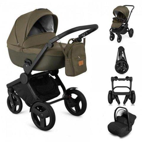 Qumes - Комбинирана Детска количка 2 в 1 - еко кожа,каки