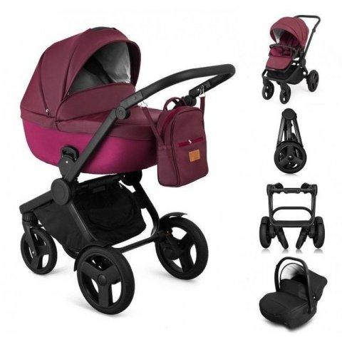 Qumes - Комбинирана Детска количка 2 в 1 - еко кожа,бордо