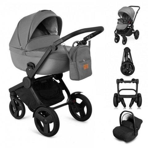 Qumes - Комбинирана Детска количка 2 в 1 - еко кожа,сива